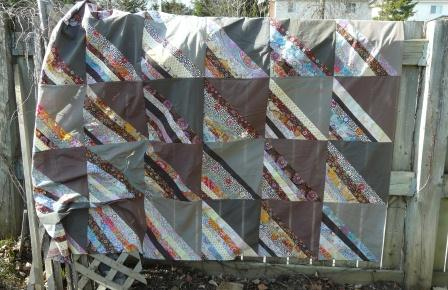 shot cotton and Kaffe Fassett quilt top